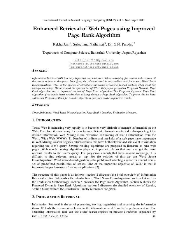 International Journal on Natural Language Computing (IJNLC) Vol. 2, No.2, April 2013DOI : 10.5121/ijnlc.2013.2206 59Enhanc...