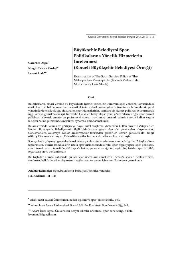 Kocaeli Üniversitesi Sosyal Bilimler Dergisi, 2013, 25: 97 - 111  ...