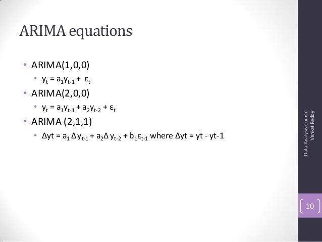 ARIMA equations • ARIMA(1,0,0) • yt = a1yt-1 + εt • ARIMA(2,0,0) • yt = a1yt-1 + a2yt-2 + εt • ARIMA (2,1,1) • Δyt = a1 Δy...