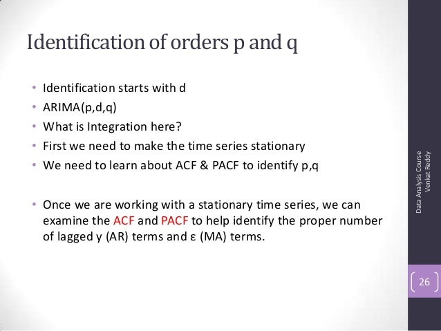 Identification of orders p and q • Identification starts with d • ARIMA(p,d,q) • What is Integration here? • First we need...