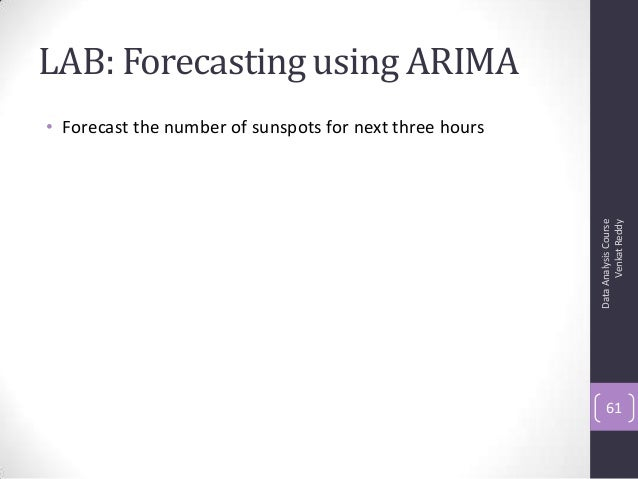 LAB: Forecasting using ARIMA • Forecast the number of sunspots for next three hours DataAnalysisCourse VenkatReddy 61