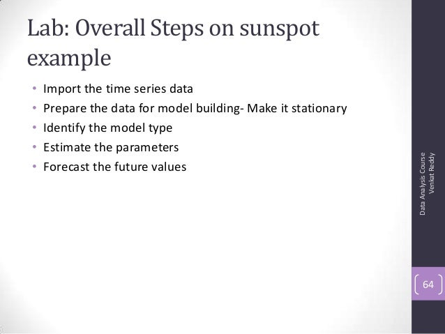 Lab: Overall Steps on sunspot example • Import the time series data • Prepare the data for model building- Make it station...