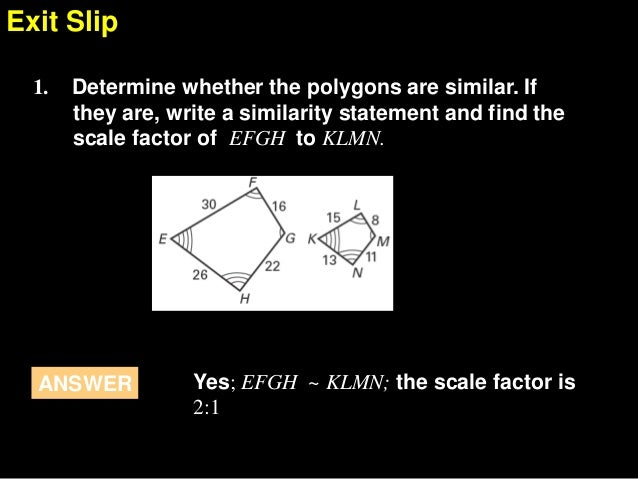 how to find the scale factor of similar polygons