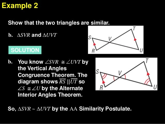 write a similarity statement comparing the three triangles in each diagram