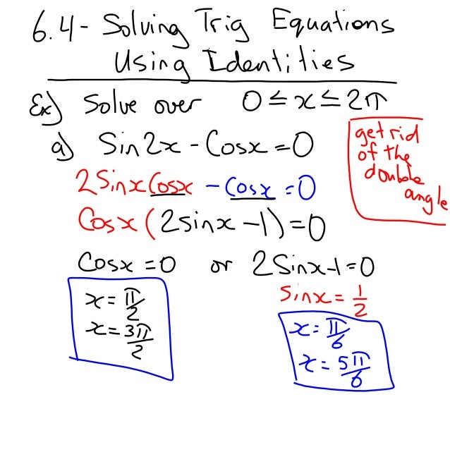 solving trig equations using identities
