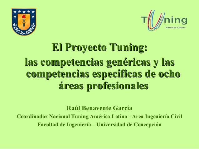 El Proyecto Tuning: las competencias genéricas y las competencias específicas de ocho áreas profesionales Raúl Benavente G...