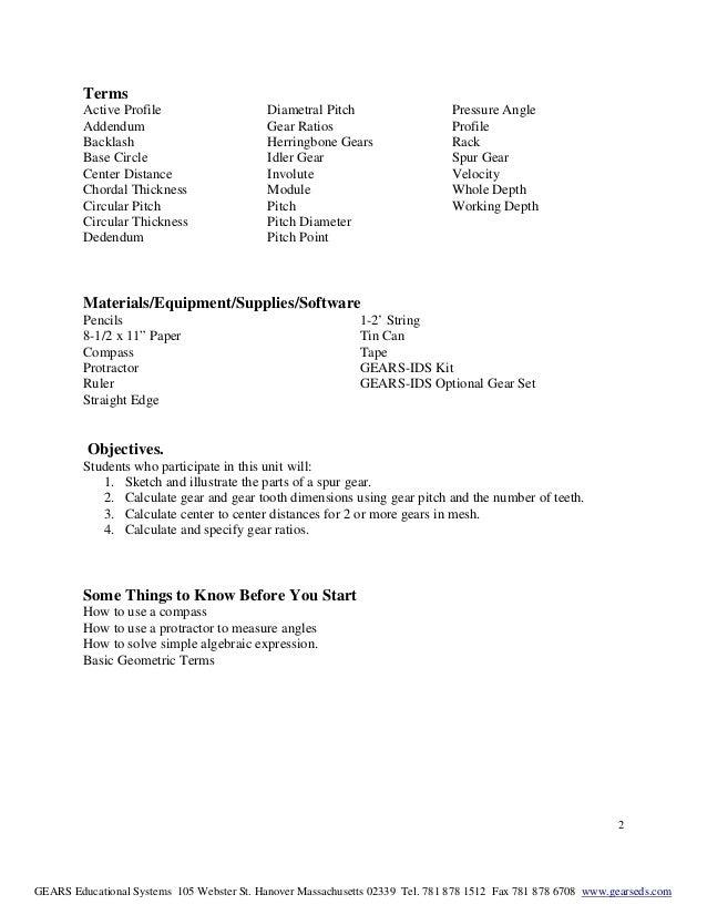 Gear termslessonrev3 – Gear Ratio Worksheet