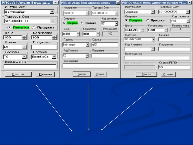                Обычная (слева) и упрощенная (в центре) формы ввода адресной заявки РПС, а также адресная заявк...