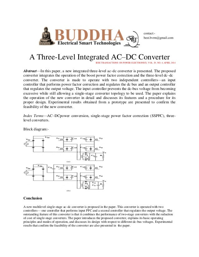 A Three-Level Integrated AC–DC Converter IEEE TRANSACTIONS ON POWER ELECTRONICS, VOL. 29, NO. 4, APRIL 2014  Abstract—In t...