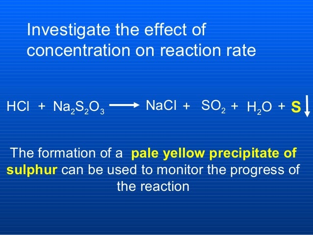 to investigate the rate of reaction This is an investigation into the effect changing the concentration of hydrochloric acid has on its rate of reaction with magnesium this is intended as a short project over several lessons.