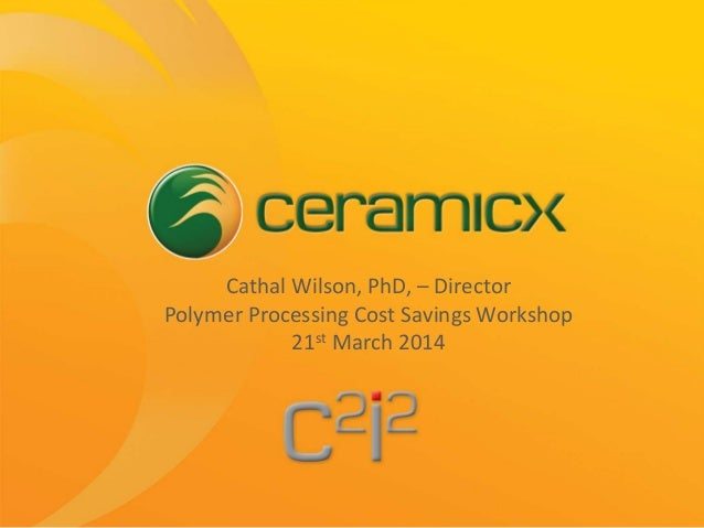 Cathal Wilson, PhD, – Director Polymer Processing Cost Savings Workshop 21st March 2014