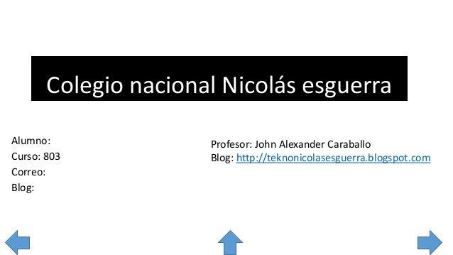 Colegio nacional Nicolás esguerra Alumno: Curso: 803 Correo: Blog: Profesor: John Alexander Caraballo Blog: http://teknoni...