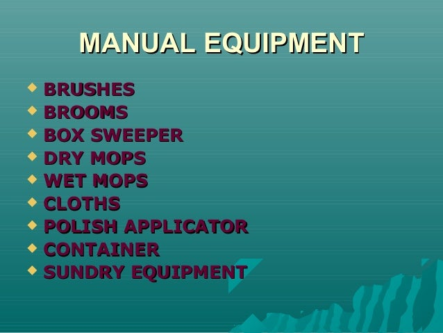 6 1 Cleaning Equipments