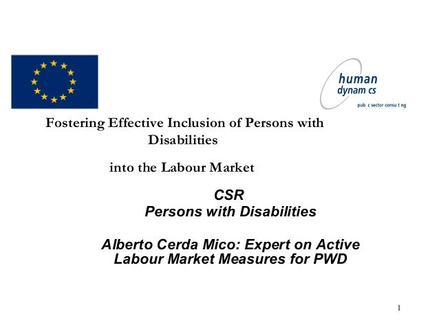1 Fostering Effective Inclusion of Persons with Disabilities into the Labour Market CSR Persons with Disabilities Alberto ...