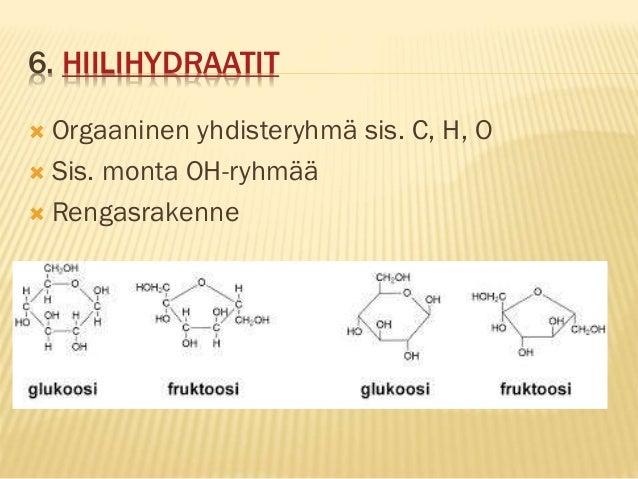 6. HIILIHYDRAATIT  Orgaaninen yhdisteryhmä sis. C, H, O  Sis. monta OH-ryhmää  Rengasrakenne