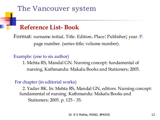 how to write a reference list vancouver style references