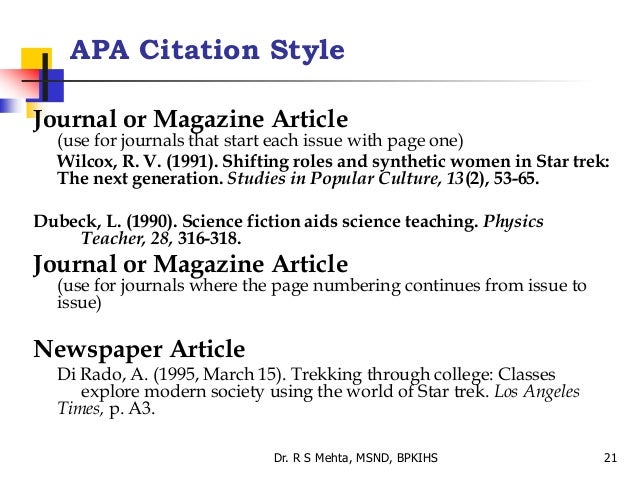 apa citation of article