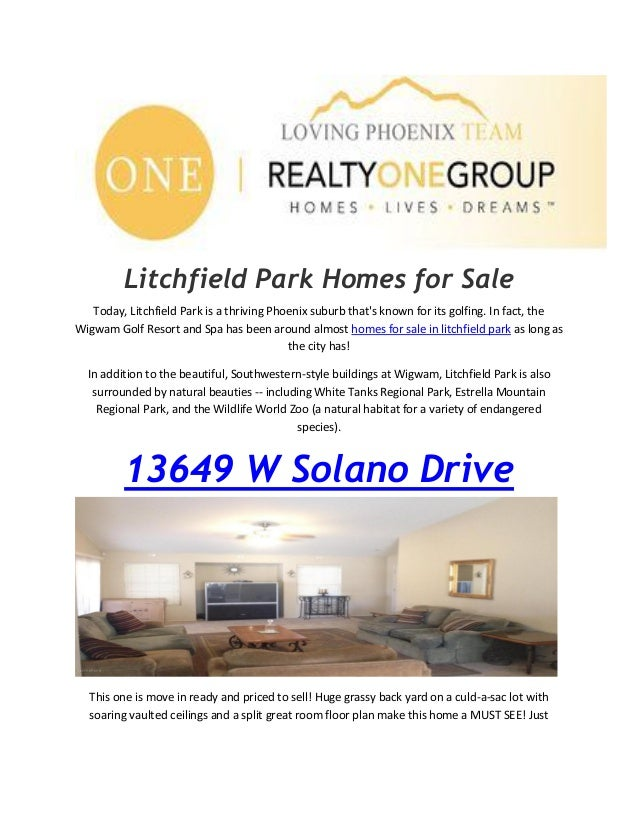 Litchfield Park Homes for Sale Today, Litchfield Park is a thriving Phoenix suburb that's known for its golfing. In fact, ...