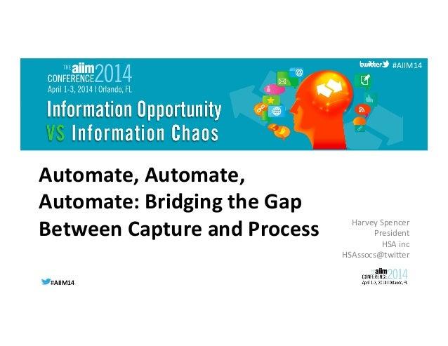 #AIIM14  #AIIM14   #AIIM14   Automate,  Automate,   Automate:  Bridging  the  Gap   Between  Capture ...