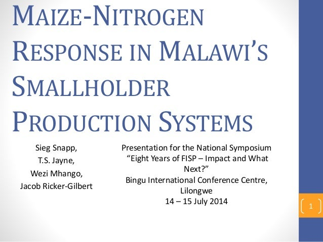 MAIZE-NITROGEN RESPONSE IN MALAWI'S SMALLHOLDER PRODUCTION SYSTEMS Sieg Snapp, T.S. Jayne, Wezi Mhango, Jacob Ricker-Gilbe...