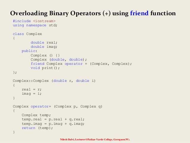 C++ Program to Implement Operator Overloading
