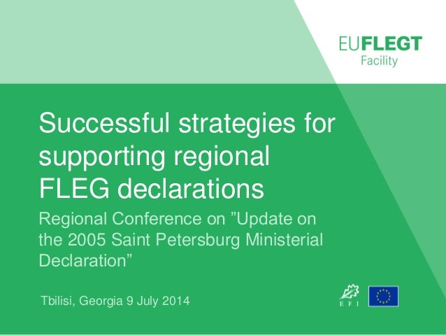 "Successful strategies for supporting regional FLEG declarations Regional Conference on ""Update on the 2005 Saint Petersbur..."