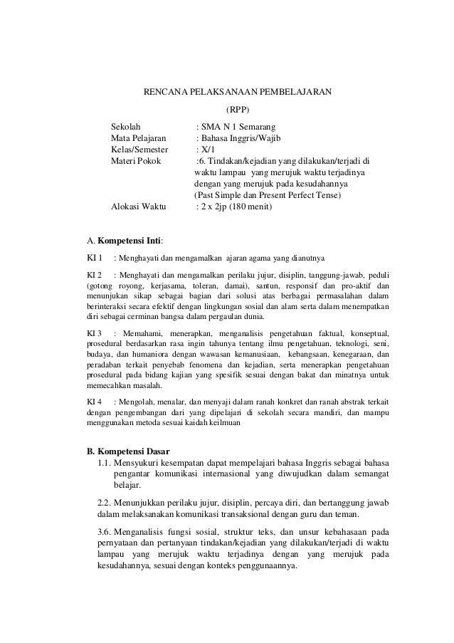 Rpp Bahasa Inggris Simple Tense Dan Kelas X Kurikulum 2013