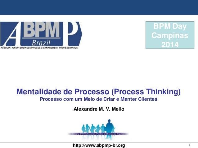 1http://www.abpmp-br.org BPM Day Campinas 2014 Mentalidade de Processo (Process Thinking) Processo com um Meio de Criar e ...