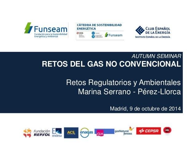 AUTUMN SEMINAR RETOS DEL GAS NO CONVENCIONAL Retos Regulatorios y Ambientales Marina Serrano - Pérez-Llorca Madrid, 9 de o...
