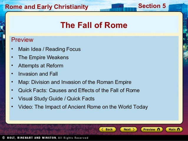 the causes of the fall of rome There was no single cause or event which led to the downfall of the roman republic social and political instability, rapid expansion, and corruption among the rich and powerful all played a role the roman republic engaged in series of wars that expanded the republic's territory and brought it.