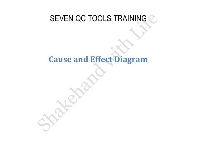 SEVEN QC TOOLS TRAINING  Cause and Effect Diagram