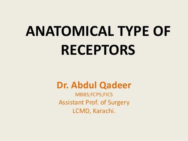 ANATOMICAL TYPE OF  RECEPTORS  Dr. Abdul Qadeer  MBBS;FCPS;FICS  Assistant Prof. of Surgery  LCMD, Karachi.