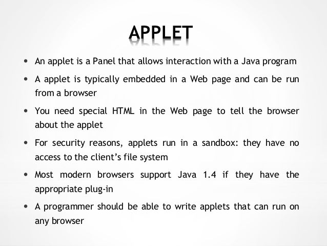 How to write applet program in java
