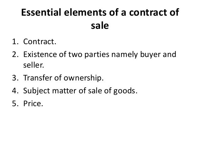 contract and sales of goods act Contract of sales of goods act - free download as powerpoint presentation (ppt), pdf file (pdf), text file (txt) or view presentation slides online scribd is the world's largest social reading and publishing site.