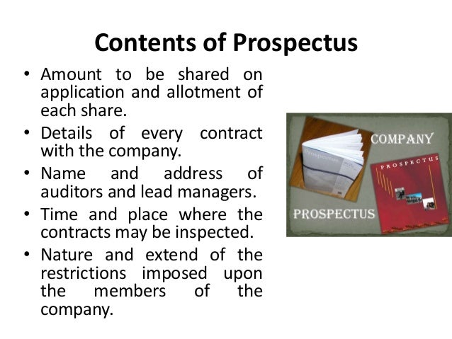 What is a prospectus? State the various contents of a prospectus.