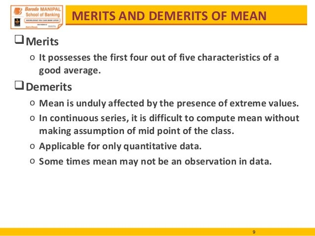 merits and demerits of mean