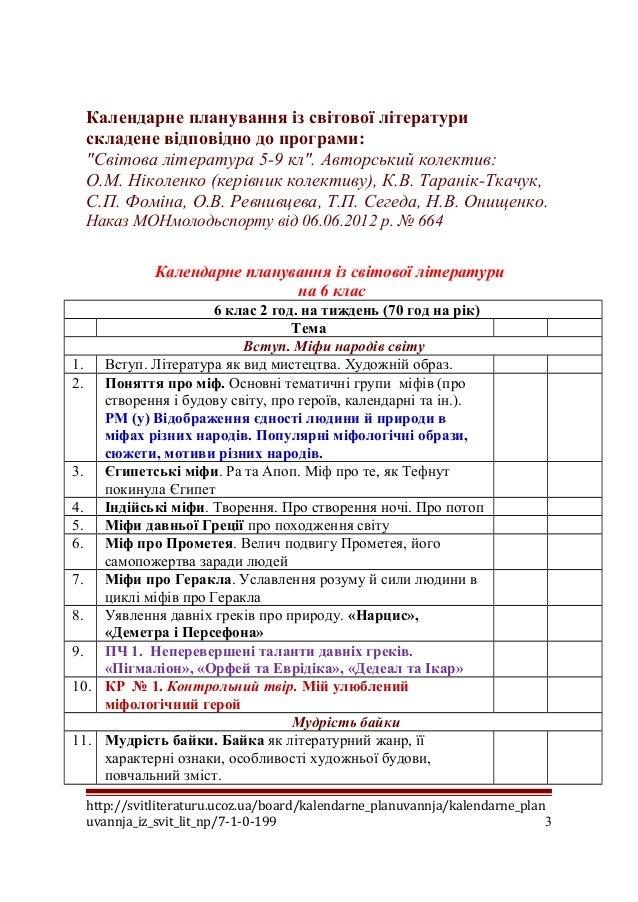 Календарне планування із світової літератури. 6 клас Slide 3