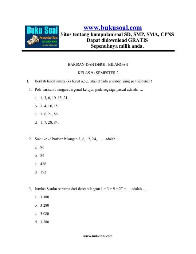 6. latihan soal matematika barisan dan deret bilangan kelas 9 smp
