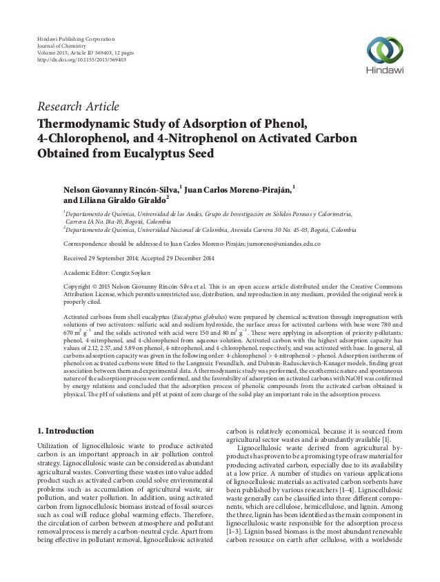 Research Article Thermodynamic Study of Adsorption of Phenol, 4-Chlorophenol, and 4-Nitrophenol on Activated Carbon Obtain...