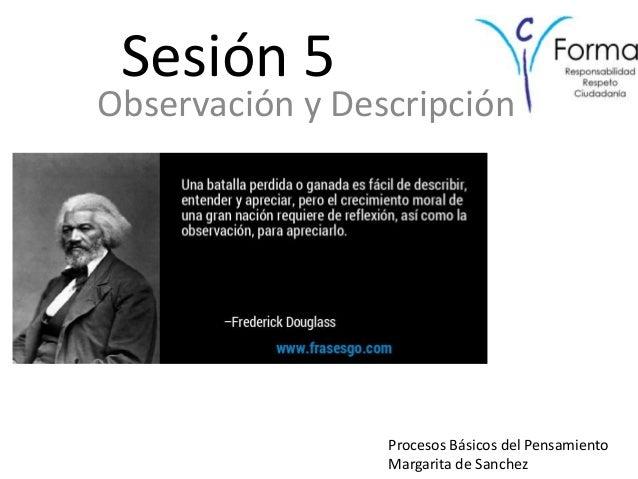 Sesión 5 Observación y Descripción Procesos Básicos del Pensamiento Margarita de Sanchez