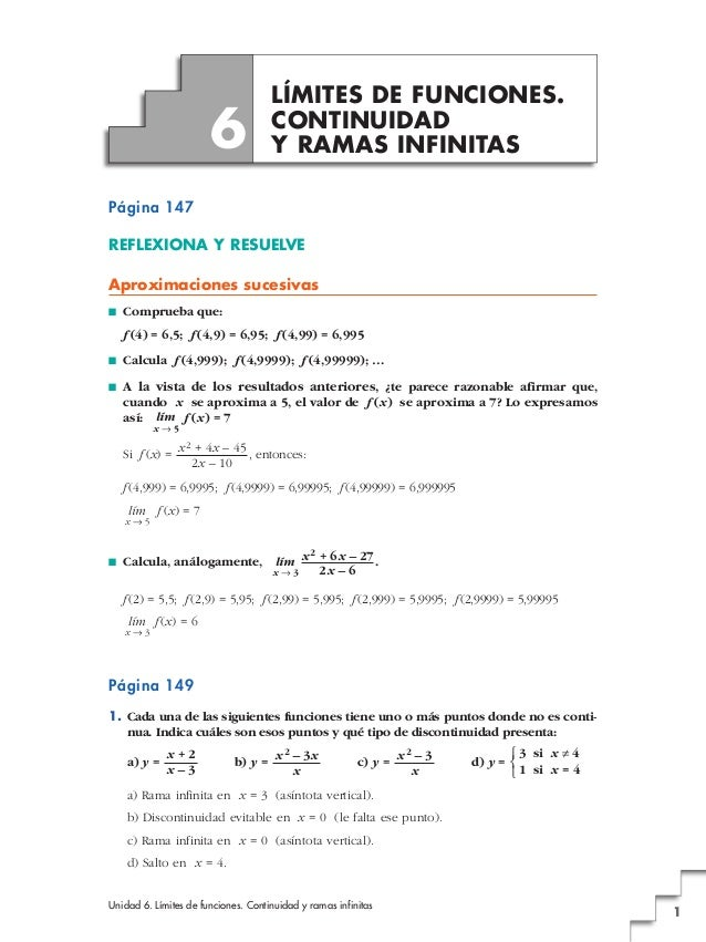 Unidad 6. Límites de funciones. Continuidad y ramas infinitas 1 Página 147 REFLEXIONA Y RESUELVE Aproximaciones sucesivas ...