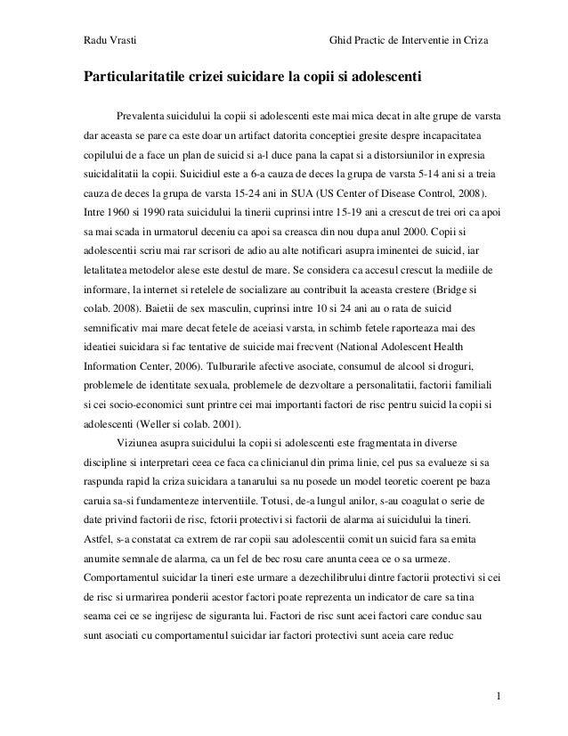 Radu Vrasti Ghid Practic de Interventie in Criza 1 Particularitatile crizei suicidare la copii si adolescenti Prevalenta s...