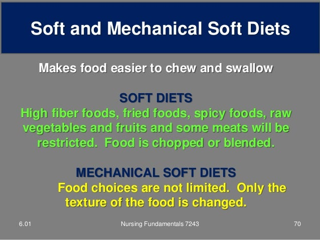 Foods Allowed In Mechanical Soft Diet