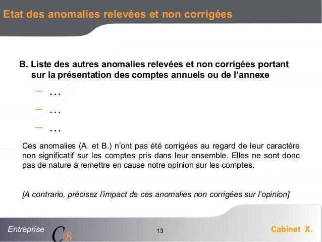 Entreprise Cabinet X. CB 13 Etat des anomalies relevées et non corrigées B. Liste des autres anomalies relevées et non cor...