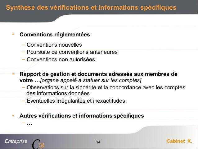 Entreprise Cabinet X. CB 14 Synthèse des vérifications et informations spécifiques • Conventions réglementées – Convention...