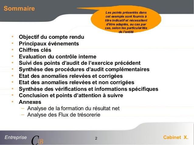 Entreprise Cabinet X. CB 2 Sommaire • Objectif du compte rendu • Principaux événements • Chiffres clés • Evaluation du con...