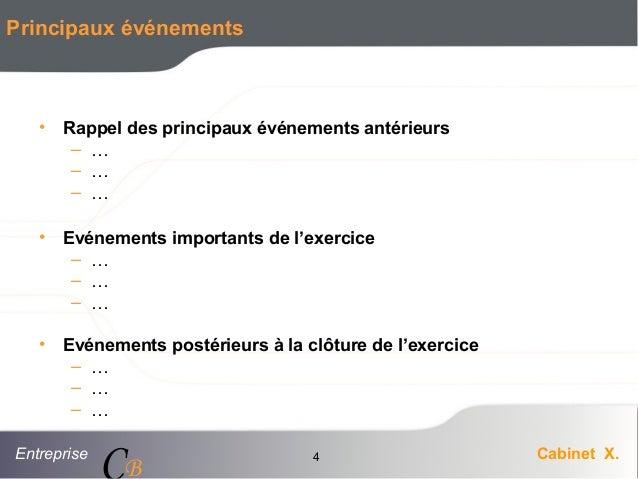 Entreprise Cabinet X. CB 4 Principaux événements • Rappel des principaux événements antérieurs – … – … – … • Evénements im...