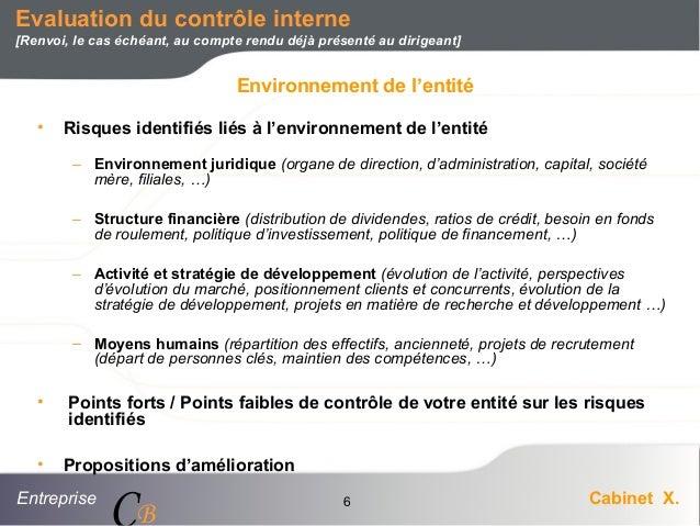 Entreprise Cabinet X. CB 6 Evaluation du contrôle interne [Renvoi, le cas échéant, au compte rendu déjà présenté au dirige...