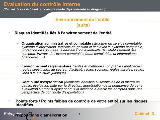 Entreprise Cabinet X. CB 7 • Risques identifiés liés à l'environnement de l'entité – Organisation administrative et compta...