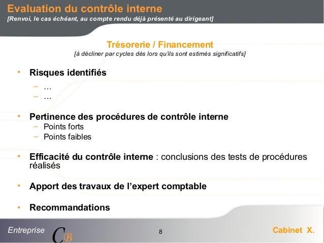 Entreprise Cabinet X. CB 8 • Risques identifiés – … – … • Pertinence des procédures de contrôle interne – Points forts – P...